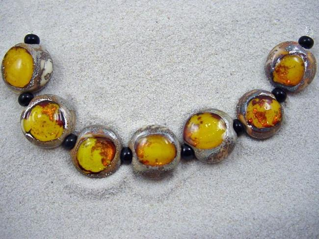 Art: Ambrosia *CITRINE EYES* Lampwork 7 Beads Handmade - SOLD by Artist Bonnie G Morrow