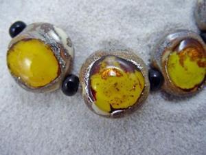 Detail Image for art Ambrosia *CITRINE EYES* Lampwork 7 Beads Handmade - SOLD