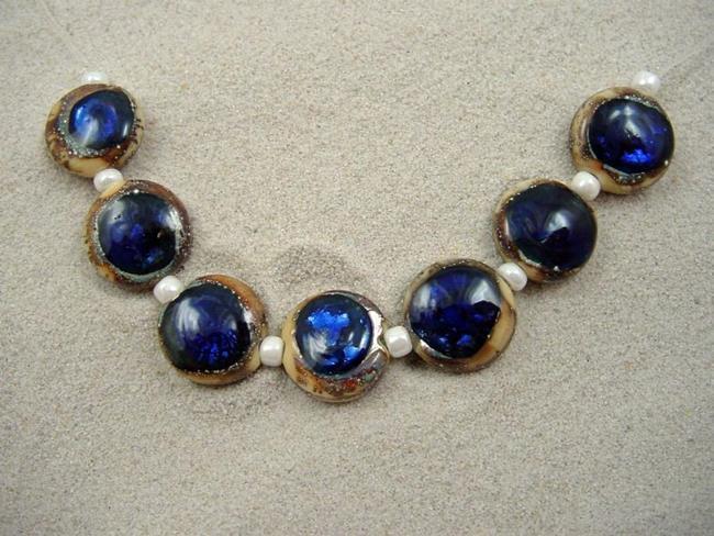 Art: Ambrosia *SAPPHIRE EYES 15mm* Lampwork 7 Beads Handmade - SOLD by Artist Bonnie G Morrow
