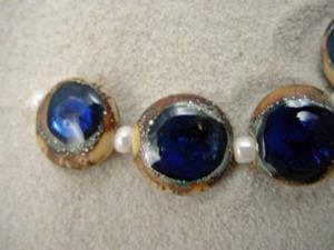 Detail Image for art Ambrosia *SAPPHIRE EYES 15mm* Lampwork 7 Beads Handmade - SOLD