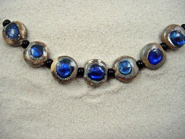 Art: Ambrosia *SAPPHIRE EYES 13 mm* Lampwork 7 Beads Handmade - SOLD by Artist Bonnie G Morrow