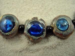 Detail Image for art Ambrosia *SAPPHIRE EYES 13 mm* Lampwork 7 Beads Handmade - SOLD