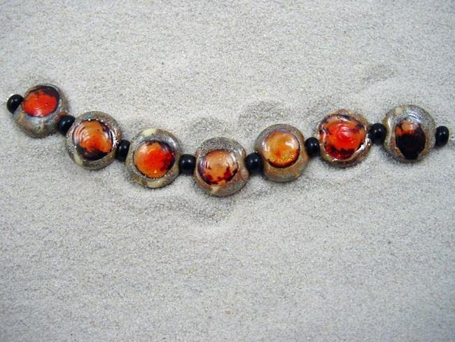 Art: Ambrosia *RED PLUM EYES* Lampwork 7 Beads Handmade - SOLD by Artist Bonnie G Morrow