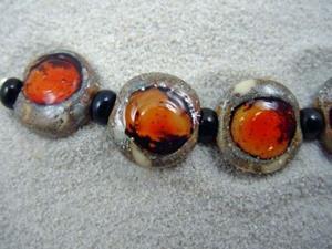 Detail Image for art Ambrosia *RED PLUM EYES* Lampwork 7 Beads Handmade - SOLD
