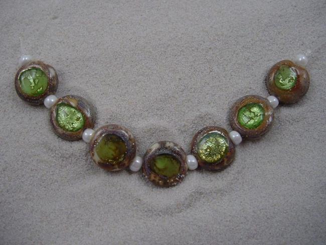 Art: Ambrosia *APPLE GREEN EYES* Lampwork 7 Beads Handmade - SOLD by Artist Bonnie G Morrow