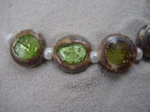 Detail Image for art Ambrosia *APPLE GREEN EYES* Lampwork 7 Beads Handmade - SOLD