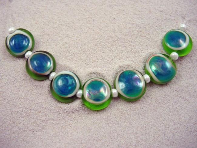 Art: Ambrosia *ELEKTRA EYES 15mm* Lampwork 7 Beads Handmade - SOLD by Artist Bonnie G Morrow