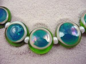 Detail Image for art Ambrosia *ELEKTRA EYES 15mm* Lampwork 7 Beads Handmade - SOLD