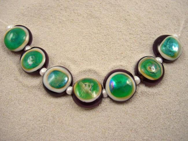 Art: Ambrosia *GAIA EYES* Lampwork 7 Beads Handmade - SOLD by Artist Bonnie G Morrow