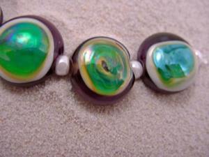 Detail Image for art Ambrosia *GAIA EYES* Lampwork 7 Beads Handmade - SOLD