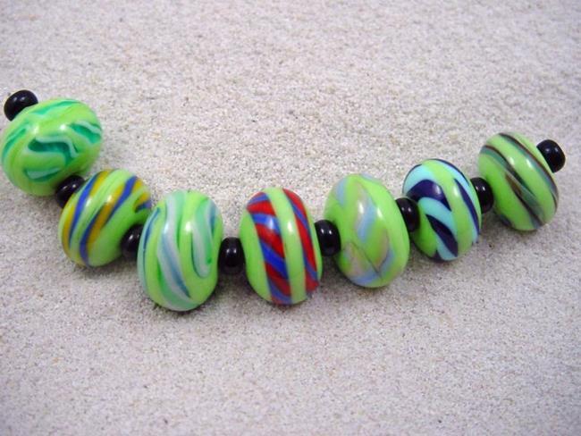 Art: Ambrosia *TWISTIE WRAPS 5* Lampwork 7 Beads Handmade by Artist Bonnie G Morrow