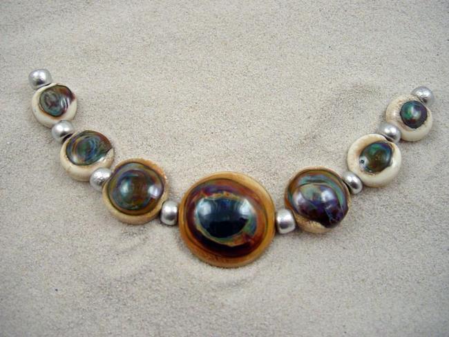 Art: Ambrosia *TERRA ELEKTRA EYES* Lampwork 7 Beads Handmade - SOLD by Artist Bonnie G Morrow