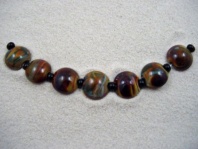 Art: Ambrosia *STRICTLY TERRA* Lampwork 7 Beads Handmade - SOLD by Artist Bonnie G Morrow