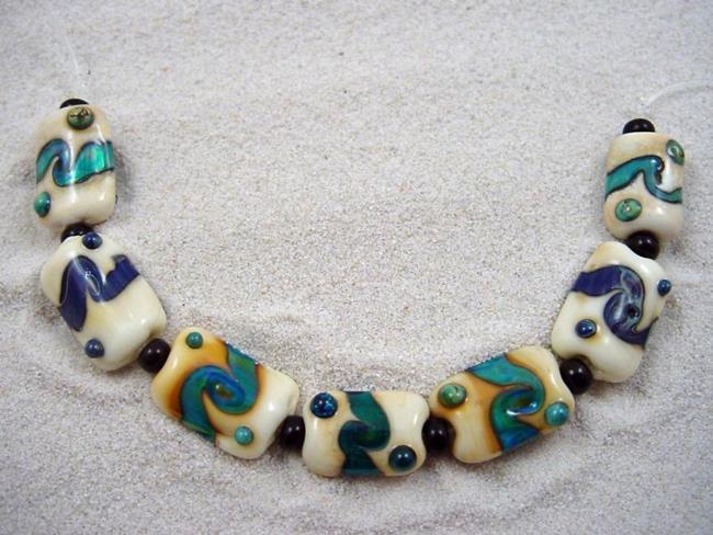Art: Ambrosia *MINI RIVERS* Lampwork 7 Beads Handmade - SOLD by Artist Bonnie G Morrow