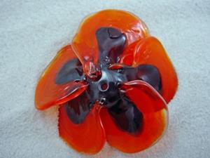 Detail Image for art Ambrosia *ORANGE POPPY* Lampwork FOCAL Bead Handmade - SOLD