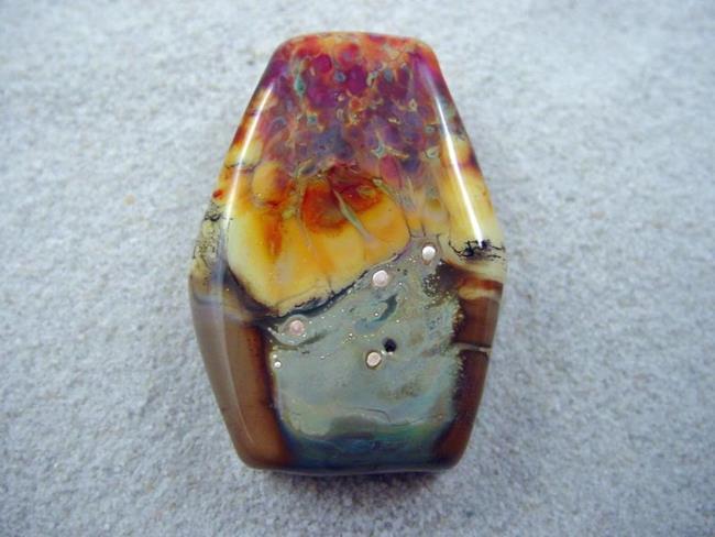 Art: Ambrosia *GOLDEN MORNING* Lampwork FOCAL Bead Handmade - SOLD by Artist Bonnie G Morrow