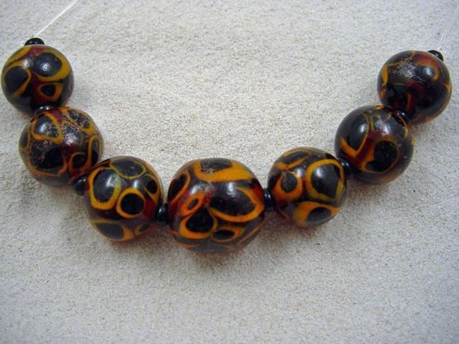 art ambrosia cheetah balls lampwork 7 beads handmade sold by artist bonnie