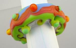Detail Image for art Ambrosia Glass TUFFET 432 Lampwork FOCAL Bead Handmade