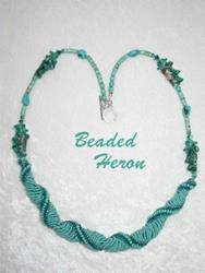 Art: Turquoise Sea Spirals necklace by Artist Stephanie M. Daigle