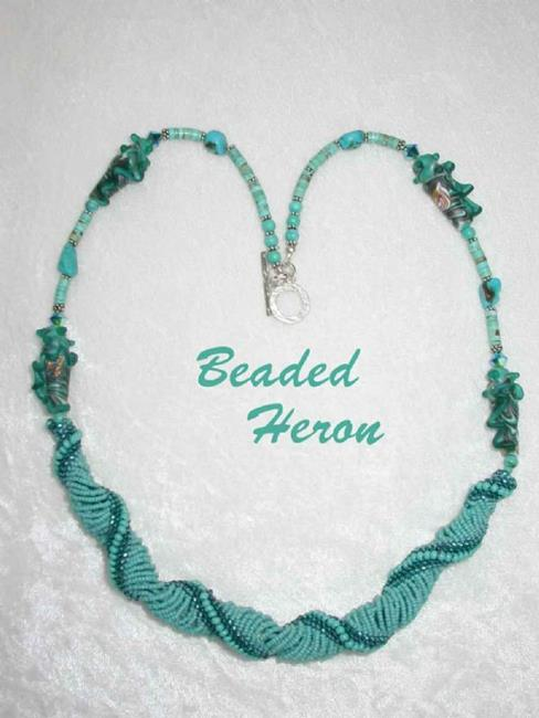 Art: Turquoise Sea Spirals necklace by Artist Stephanie M. Daigle