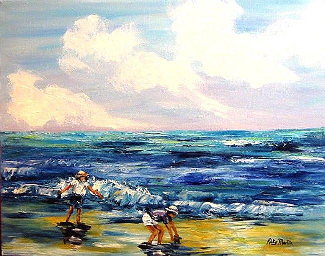 Art: Children playing on the Beach - sold by Artist Ulrike 'Ricky' Martin