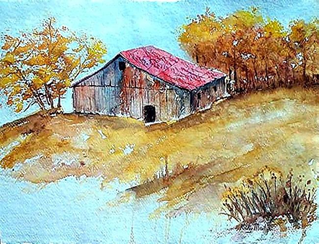 Art: The old Barn  (sold) by Artist Ulrike 'Ricky' Martin