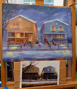 Detail Image for art Two Houses ~ A Love Story - Sold