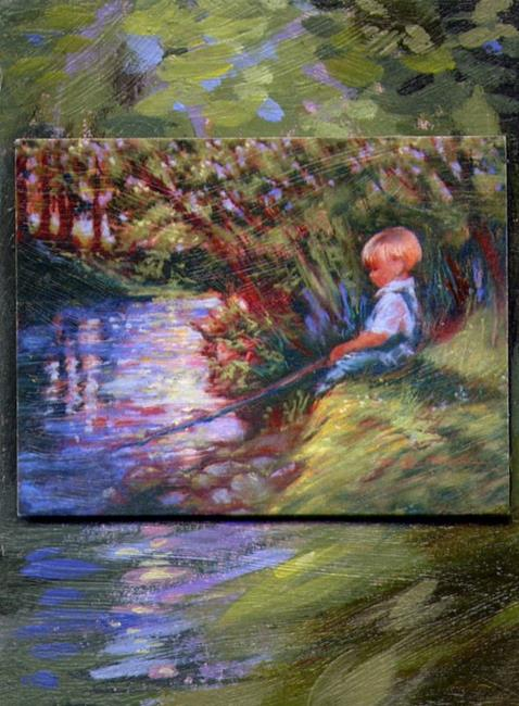 Art: His Own World - ATC - SOLD by Artist Patricia  Lee Christensen