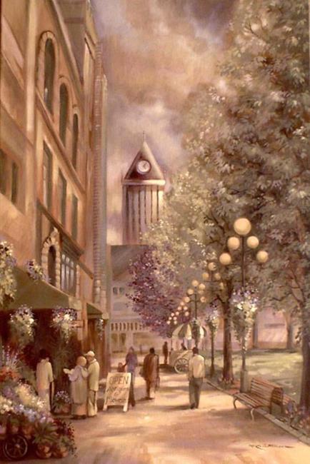 Art: City Street Scene by Artist Patricia  Lee Christensen