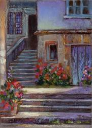 Art: Village Steps Street Scene by Artist Patricia  Lee Christensen