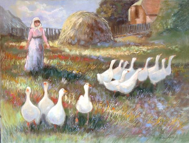 Art: Country Geese by Artist Patricia  Lee Christensen