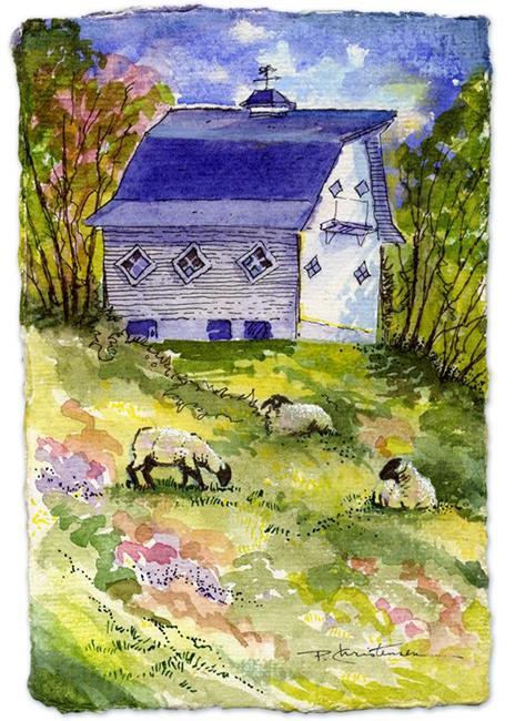 Art: Quaint Barn & Sheep ACEO  by Artist Patricia  Lee Christensen