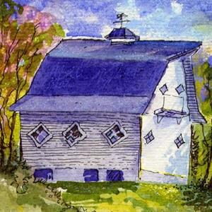 Detail Image for art Quaint Barn & Sheep ACEO