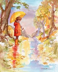 Art: Autumn Puddles by Artist Patricia  Lee Christensen