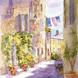 Art: Provence Street Scene - Sold by Artist Patricia  Lee Christensen