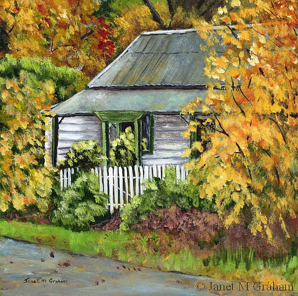Art: Autumn Cottage by Artist Janet M Graham
