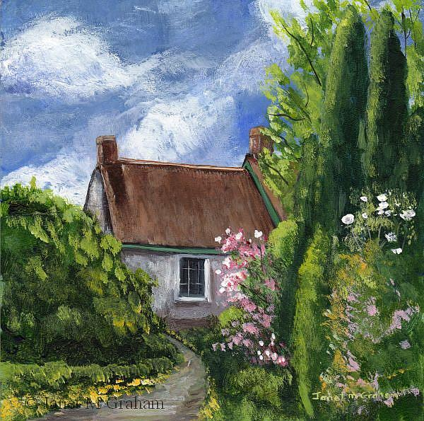 Art: Spring Cottage by Artist Janet M Graham
