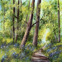 Art: Bluebell Forest by Artist Janet M Graham
