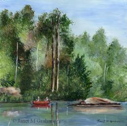 Art: Canoeing Down the River by Artist Janet M Graham