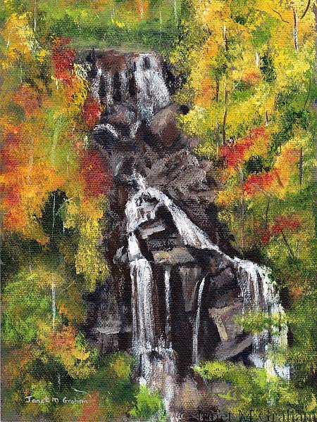 Art: Autumn Waterfall by Artist Janet M Graham