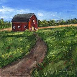 Art: Red Barn by Artist Janet M Graham
