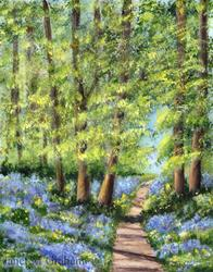 Art: Bluebell Woodlands Original by Artist Janet M Graham