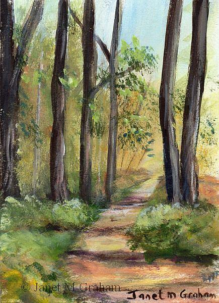 Art: Forest Path ACEO by Artist Janet M Graham