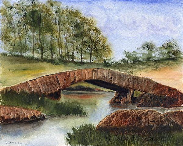 Art: Country Bridge by Artist Janet M Graham