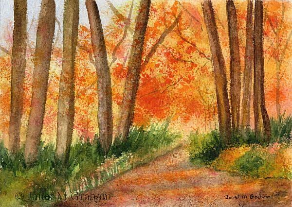 Art: Autumn Walk by Artist Janet M Graham