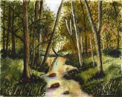 Art: Woodland Stream by Artist Janet M Graham