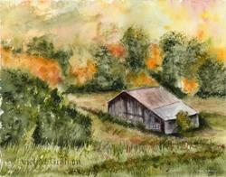 Art: Autumn Barn by Artist Janet M Graham