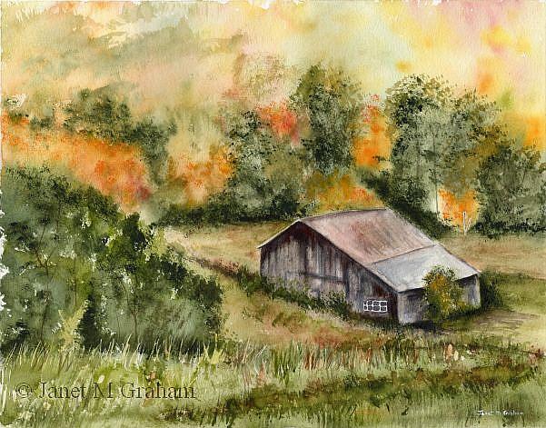 Art: Autumn Barn by Artist Janet M Graham