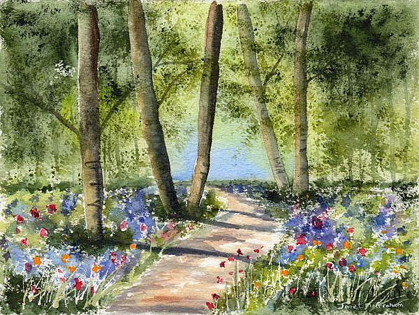 Art: Bluebell Path by Artist Janet M Graham