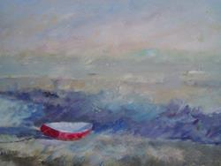 Art: Red Boat (Leigh-On-Sea, Essex) by Artist John Wright